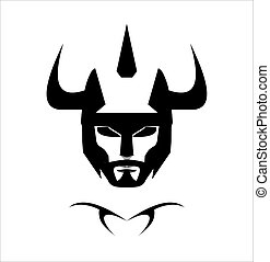 Warrior Head, black horned warrior.