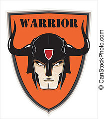 Warrior Head over the Shield