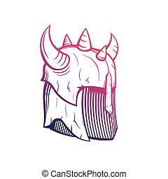 warrior helmet with horns, medieval armor - warrior helmet ...