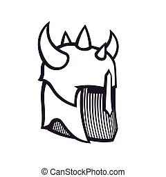 warrior helmet with horns, outline isolated on white