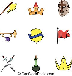 Warrior icons set, cartoon style
