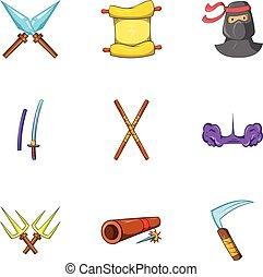 Warrior icons set, cartoon style