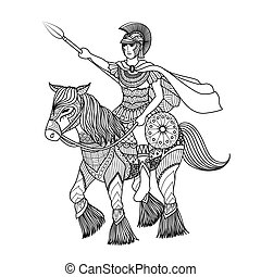warrior - Clean lines doodle art design of knight holding a...