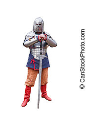 Warrior in medieval armor on a white background.