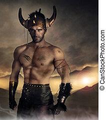 Warrior man - Moodey portrait of a muscular man as ancient ...