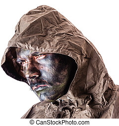 Warrior over white - a soldier wearing a poncho or raincoat...