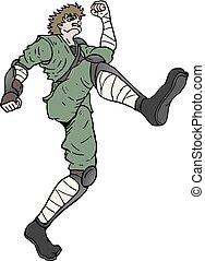 warrior running illustration