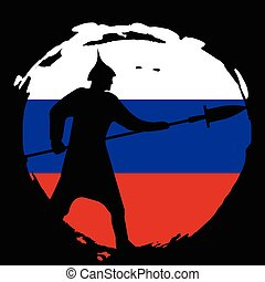 Warrior Silhouette on russia flag and black background.