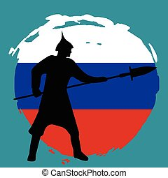Warrior Silhouette on russia flag background.