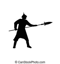 Warrior Silhouette on white background.