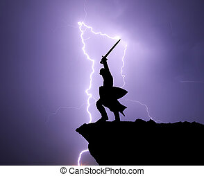 Warrior silhoutte and lightning.
