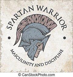 warrior., spartan, emblema, style., vendemmia