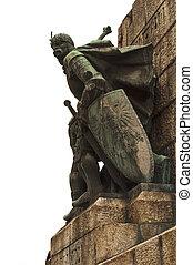 Warrior statue in Krakow. - Medieval soldier statue in the...