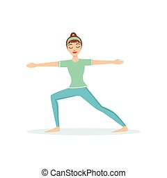 Warrior Two Virabhadrasana Yoga Pose Demonstrated By The Girl Cartoon Yogi With Ponytail In Blue Sportive Clothing Vector Illustration
