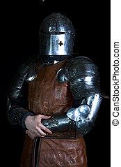 Warrior warrior with helmet on a black background