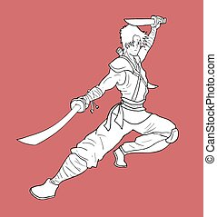 warrior with two swords illustration