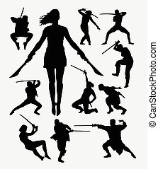 Warrior with weapon silhouette - Warrior male and female...
