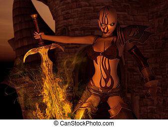 warrior woman with flaming sword