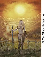 warrior woman - 3d render