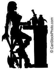 Warrior woman sitting at the bar silhouette