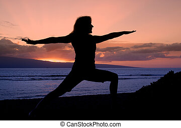Warrior Yoga Pose in the Sunset