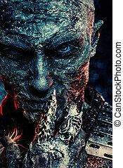warrior zombie man - Close-up portrait of a zombie man...