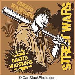 warriors., arrière-plan., bat., voyou, gangster, base-ball, sale, graffiti, ghetto