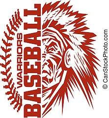 warriors baseball team design with stitches and half mascot...