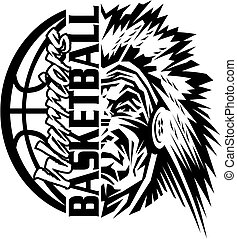 warriors basketball team design with ball and mascot for...