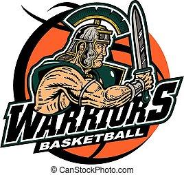 warriors basketball team design with muscular mascot inside...