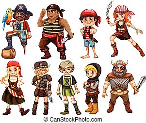 Warriors - illustration of a set of different warriors