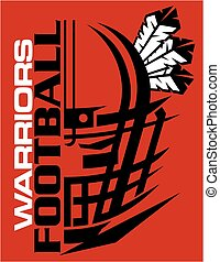 warriors football team design with facemask and feathers for...