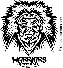 warriors football team design with mascot and laces for...