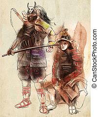 warriors., illustration., 그림, 손, 사무라이, 그어진, freehand,...