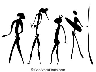warriors - primitive art - vector - Primitive figures looks...