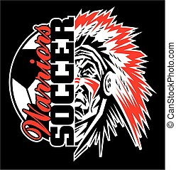 warriors soccer team design with ball and half mascot for...