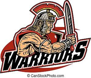 warriors team design with muscular warrior mascot