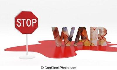 wars., concept., bloedig, stoppen, oorlog