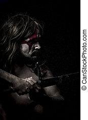 war.savage, strijder, met, ijzer, zwaard