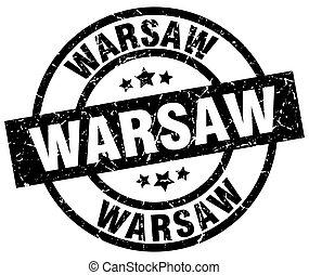 Warsaw black round grunge stamp