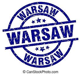 Warsaw blue round grunge stamp