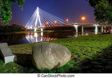 warsaw bridge at night