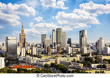 Warsaw business district at afternoon sun. Aerial View.