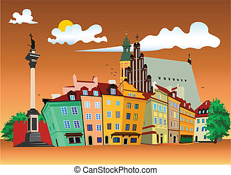 Warsaw Castle Square - Vector color illustration of Castle...