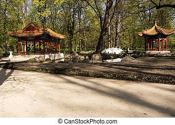 Warsaw. Chinese garden in Lazienki Royal Park