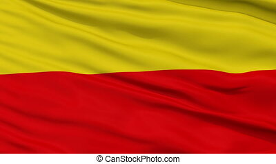 Warsaw City Close Up Waving Flag