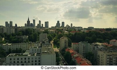 Warsaw cityscape, aerial view. Poland - Warsaw cityscape...