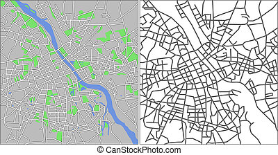 Warsaw - Illustration city map of Warsaw in vector.