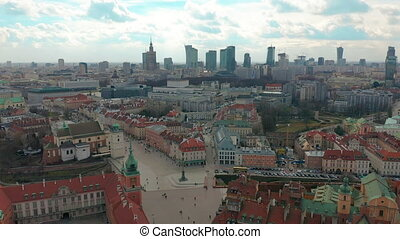 Warsaw Downtown Skyline City Time Lapse with clouds Dynamic,...