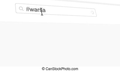 Warsaw hashtag search through social media posts animation